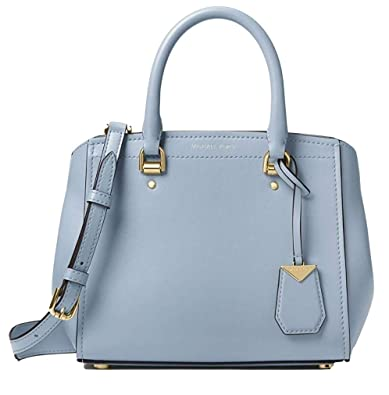 b784e345bcd381 Amazon.com: Michael Kors Benning Medium Leather Satchel, Pale Blue: Shoes