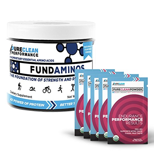 FundAminos - Jar (30 servings - 195G), Essential Amino Acid Powder, Vegan, Great Tasting, Naturally-Flavoured. PLUS PureClean Powder - Packets (15), Organic Beet Juice Powder, No Fillers or Additives