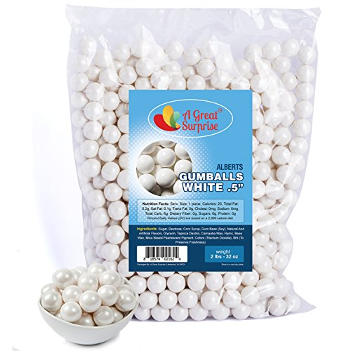 hite Gumballs for Candy Buffet - Mini Shimmer Gumballs 1/2 Inch - Bulk Candy 2 LB (1/2 Inch Candy)