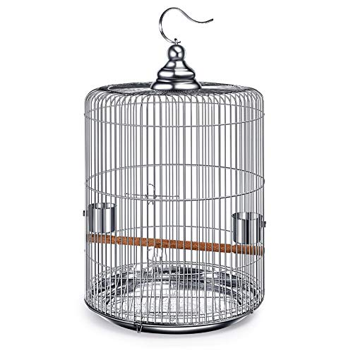 (ZNZN Round Bird Cage, Parrot Cage, Detachable Stainless Steel Bird Cage for Small Size Birds,with Stand Bar and Stainless Steel Cups, Easy to Clean, Very Firm,29x29x51cm )