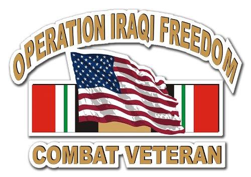 Military Vet Shop US Army Operation Iraqi Freedom Combat Veteran American Flag Window Bumper Sticker Decal 3.8
