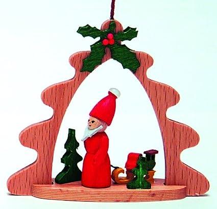 Amazon.com: Santa and Sled German Wood Christmas Ornament: Home ...