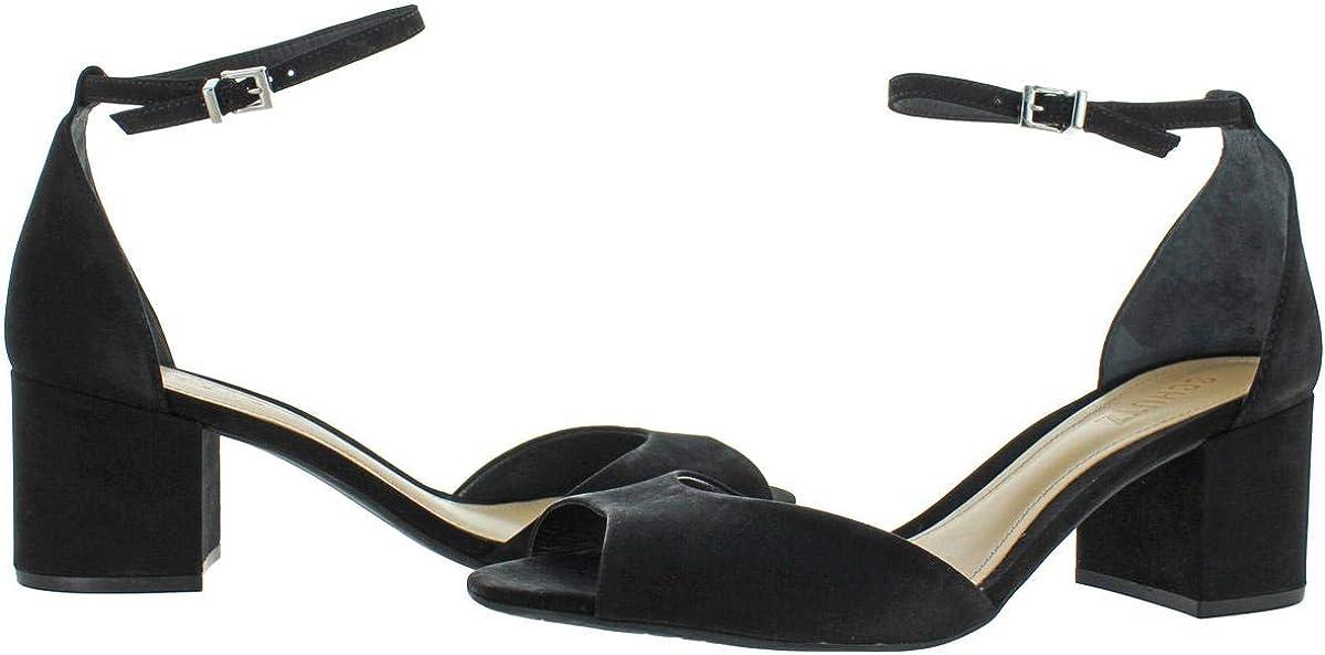 SCHUTZ Roama Womens Peep-Toe Ankle Strap Block Heeled Sandal