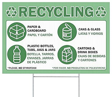 CGSignLab |Recycling -Bilingual -Green Double-Sided Corrugated Plastic Yard Sign with Wire