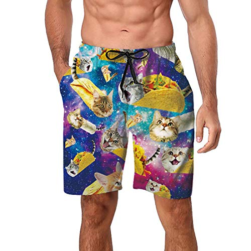 Freshhoodies Bathing Suits for Men Male Gay Teen Boys Funny Cool Rave Swimwear Trunks Taco Cat Big and Tall Board Shorts Large -