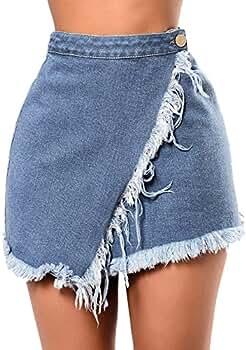 Rcool Falda Corta Faldas Faldas Mujer Invierno Faldas largas Falda Flamenca Mujer, Vaquero Mini Bolsillos de Cintura Alta Faldas de Mezclilla Azul: ...