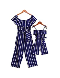 One Persent Mommy and Me Off Shoulder Jumpsuit Outfits Family Matching Striped Long Pant Jumpsuit Parent-Children Romper
