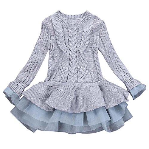WuyiMC Little Girls' Tutu Dresses, Pullover Ruffle Sweater Long Sleeves Organza Stitching Knitting (4-5Toddlers, - Organza Cuff