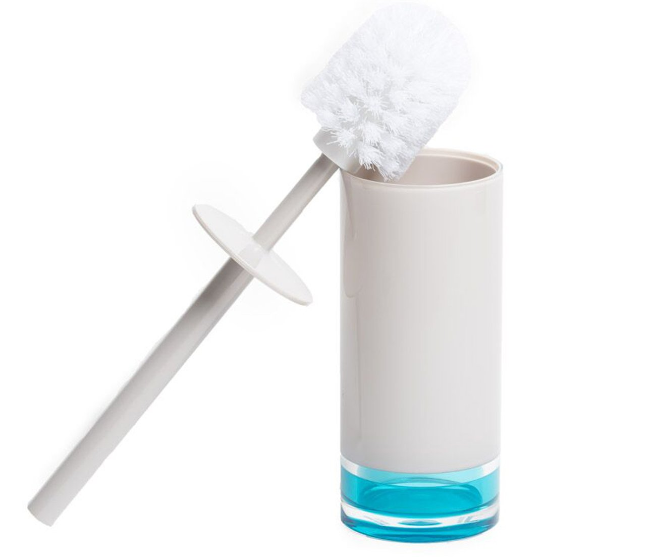 IMMANUEL Float Premium MS Acrylic Toilet Brush With Canister | Two-tone | Blue-Turquoise/Aqua White | Modern Home Decor