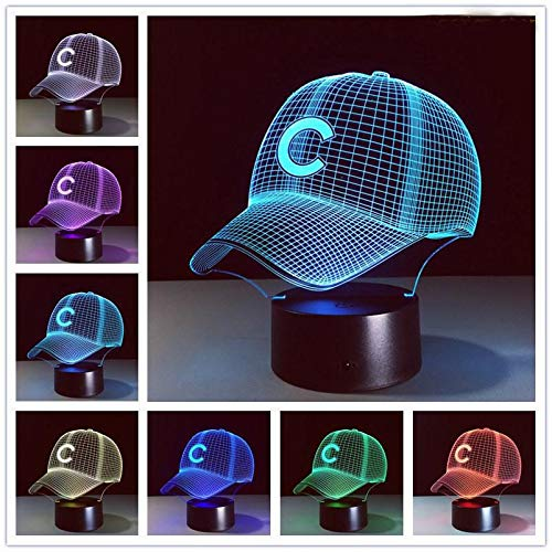 JFSJDF 3D Hat Baseball C Helmet Cap LED Lamp Sport Club Team Logo USB RGB controler Flashlight Portable Lantern Adapter Gift boy Toy