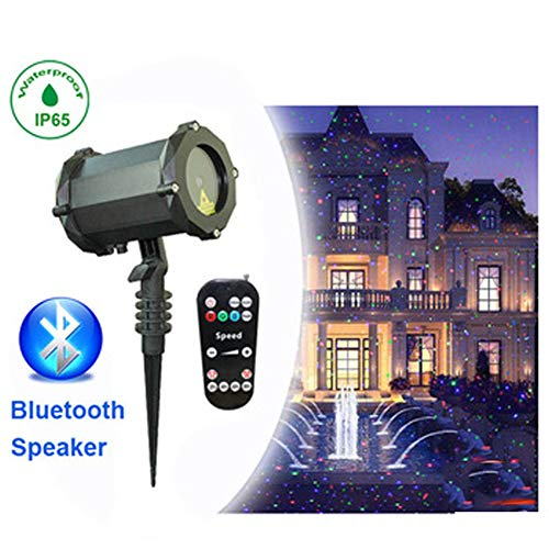 YLOVOW Garden Lights Green/Blue Starry Moving Lamp Bluetooth Speaker Outdoor&Indoor Waterproof Landscape Lights for Theme Party Wedding Night Club Yard and Garden (Sound Shine Wireless Light Bulb Speakers 2 Pack)