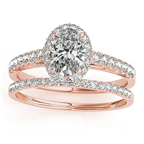 (0.37ct) 14k rose gold Diamond Accented Halo Oval Shaped Bridal Set Setting