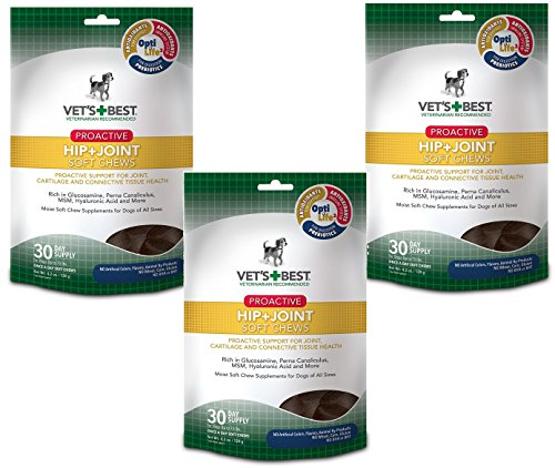 (3 Pack) Vet's Best Proactive Hip & Joint Soft Chews Dog Supplements, Each a 30 Day Supply