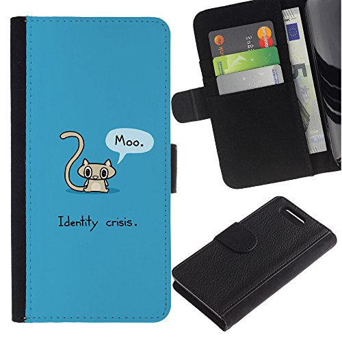 LASTONE PHONE CASE / Lujo Billetera de Cuero Caso del tirón Titular de la tarjeta Flip Carcasa Funda para Sony Xperia Z1 Compact D5503 / Cat Grey Long Tail Funny Quote Art