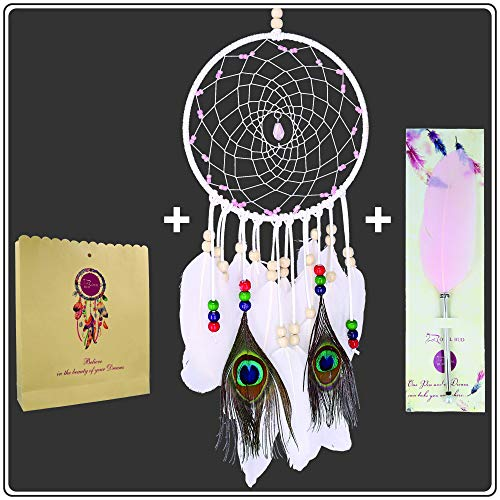 Dream Catchers Kit + Feather Pen + GiFT Bag = Most Popular Native American Dream Catcher for Bedroom,Wall Hanging Decoration,Peacock Feathers Art Decor, Talisman Stone and Beads with Handmade Web Net