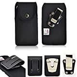 Turtleback Rugged Heavy Duty Ballistic Nylon Magnetic Case Vertical for Motorola Moto Z3 Play Phone with a any case on it. Comes with 3 inch Belt Loop Clip and Standard Steel Clip.
