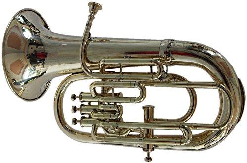 Queen Brass Euphonium Bb/F 4 Valve Chrome Wow W Case Mp Silver by Queen Brass
