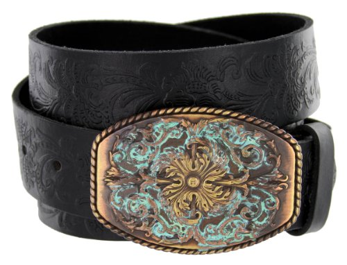 [Men's Western Tooled Full Grain Leather Jean Belt Black 1.5
