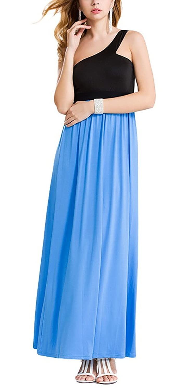 Aivtalk Damen Ohne Arm Ein Schulter Maxi Casual Kleid Sommerkleid Partykleid - Schwarz und Blau