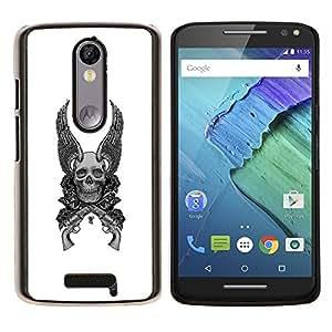 YiPhone /// Prima de resorte delgada de la cubierta del caso de Shell Armor - Alas Armas Blanco Negro del cráneo de la Muerte - Motorola Moto X3 3rd Generation