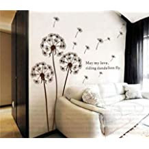 Tips 4 Wise Home Nursery Room Dandelion Removable Vinyl Wall Decal Sticker Quote Paper for Hall Kid Boy Girl Playroom Bedroom Decoration