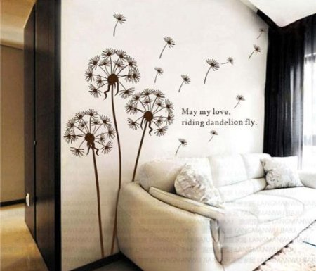 DGI MART Brown Dandelion Design Removeable Wall Decor Decals Wall Decorative Stickers Great for Biology Classroom Handicraft Lessons Classroom Children Playroom Wall Decorations