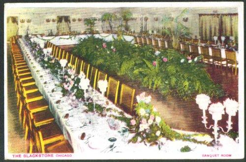 Banquet Room Blackstone Hotel Chicago postcard 1910s