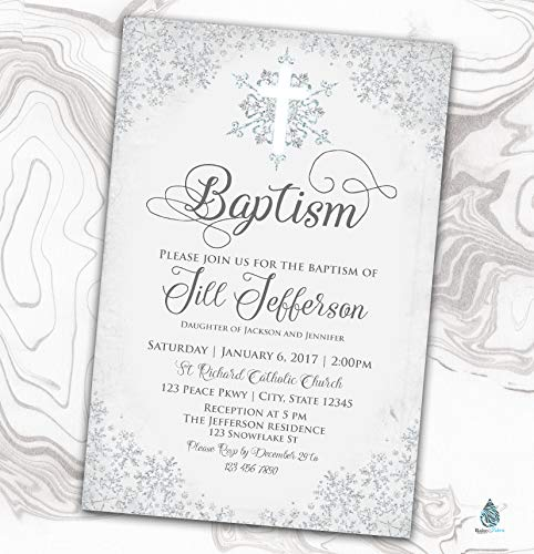 Snowflake Baptism Invitation - Naming Day Invitation - Winter Christening Invitation - 4x6 -