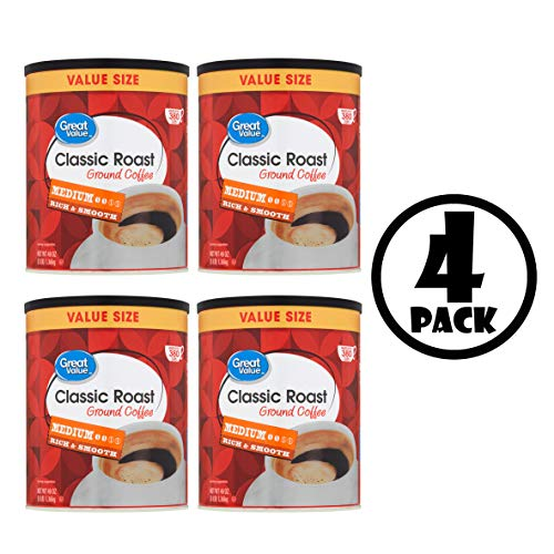 (4 Pack) Great Value Classic Roast Medium Ground Coffee Value Size, 48 oz