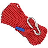 Wukong Nylon Rope & Carabiner, 65 Feet Magnet Fishing Rope Diameter 6mm/8mm Safe and Durable All Purpose High Strength Braid Rope w/Safety Lock