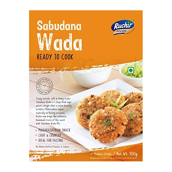 Ruchir Foods Ready to Cook Sabudana WADA - 100gms- Ready to Cook, Ready to Eat