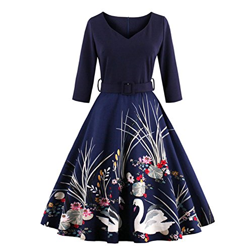 WINNER Vestidos Vintage Autumn dress Rockabilly 4XL plus size women clothing party dress Printed 60s Hepburn Casual Dress at Amazon Womens Clothing store: