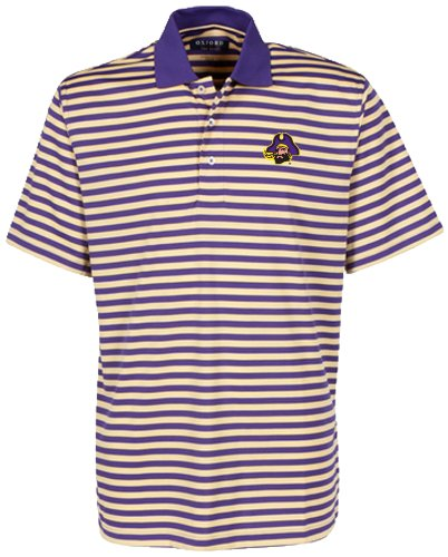 Bar Stripe Polo (Oxford Golf NCAA East Carolina Pirates Men's Bar Stripe Golf Polo, Grape/Citrus, XX-Large)