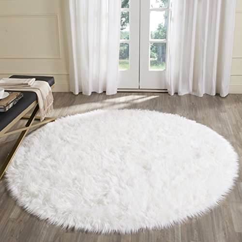 Safavieh Faux Silky Sheep Skin Collection FSS235A Ivory Round Area Rug (5' in Diameter) (Sheep Skin Faux)