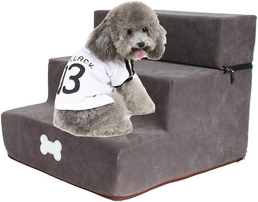 rosemaryrose Escalera De Mascota con Funda Extraíble Y Lavable Alta Resiliencia 3 Pasos De Escalera para Perro Y Gato Súper Suave: Amazon.es: Hogar