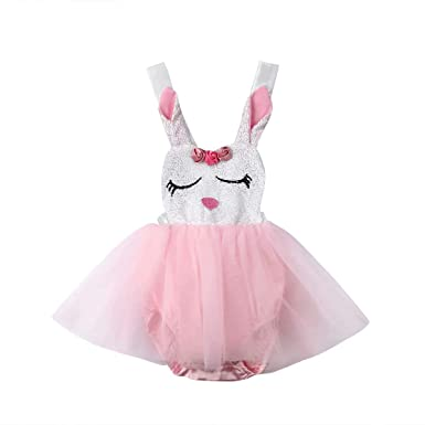 7243788c1d7 Amazon.com  Cute Easter Clothes Newborn Infant Baby Girl Strap Bunny Romper  Dress Tulle Tutu Skirt Outfit  Clothing