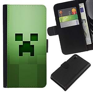 Sony Xperia Z3 D6603 / D6633 / D6643 / D6653 / D6616 , la tarjeta de Crédito Slots PU Funda de cuero Monedero caso cubierta de piel ( Green Grass Squared Object Computer)