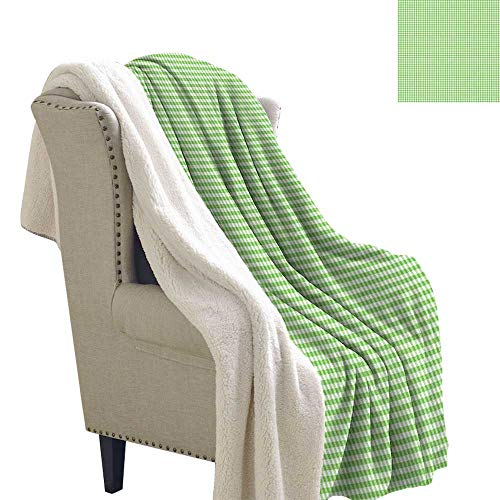 Benmo House Berber Fleece Blanket Green,Traditional Checkered Pattern Countryside Picnic Theme Old Fashioned Retro,Lime Green White Sherpa Throw 60x32 Inch