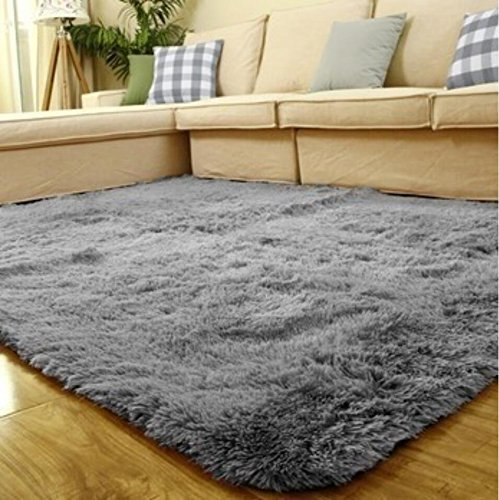ACTCUT Super Soft Indoor Modern Shag Area Silky Smooth Fur Rugs Fluffy Rugs Anti-Skid Shaggy Area Rug Dining Room Home Bedroom Carpet Floor Mat 4- Feet by 5- Feet (Grey) -