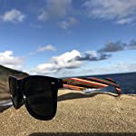 Woodies Rainbow Wood Sunglasses with Black Polarized Lenses 17 Handmade from Rainbow Wood (50% Lighter than Ray-Bans) Includes FREE Carrying Case, Lens Cloth, and Wood Guitar Pick Polarized Lenses Provide 100% UVA/UVB Protection