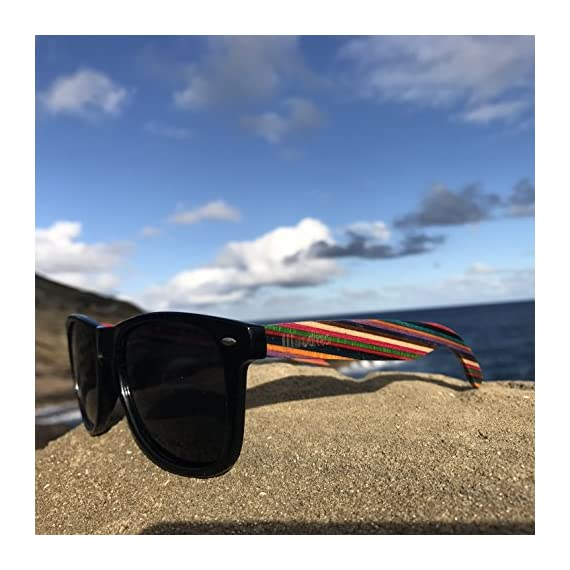 Woodies Rainbow Wood Sunglasses with Black Polarized Lenses 8 Handmade from Rainbow Wood (50% Lighter than Ray-Bans) Includes FREE Carrying Case, Lens Cloth, and Wood Guitar Pick Polarized Lenses Provide 100% UVA/UVB Protection