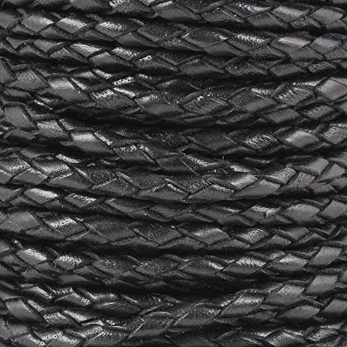 Leather Cord-3mm Braided Bolo-Natural Black-2 Meters