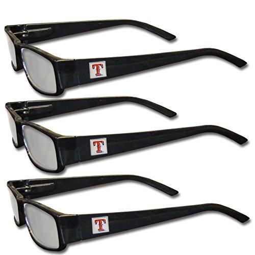 MLB Texas Rangers Adult Reading Glasses (3-Pack), Black, Reading Power: +1.25 -