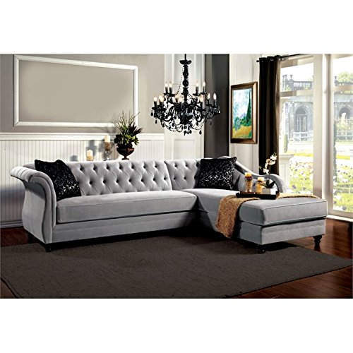 Furniture of America Yantzy Tufted Fabric Sectional in Light Taupe