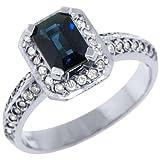 14k White Gold 1.30 Carats Emerald Cut Sapphire & Diamond Engagement Ring