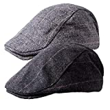 Senker 2 Pack Men's Classic Herringbone Tweed Wool Blend Flat Cap Ivy Gatsby Newsboy Cabbie Driving Hat,B-black/Grey,One Size