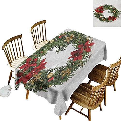 (kangkaishi Leakproof Polyester Long Tablecloth Outdoor and Indoor use Floral Wreath Cultural Design Poinsettia Blossoms Holly Pine Cone Branches W60 x L102 Inch Green Red Gold)