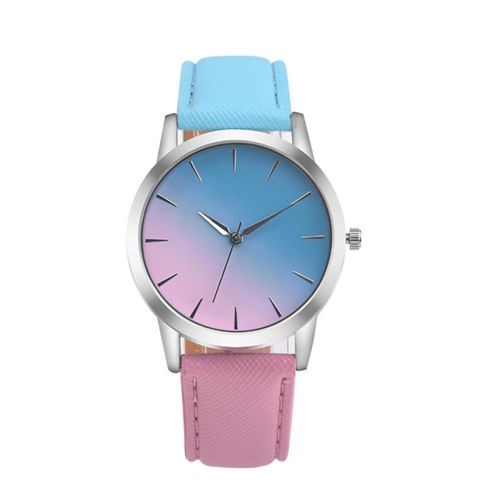 ZLOLIA Retro Rainbow Design Leather Band Analog Alloy Quartz Wrist Watch (Blue)
