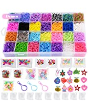 11,860+ Rainbow Rubber Bands Twist Loom Set: 11,000 Rubber Loom Bands Kits 42 Unique Colors, 500 Clips, 210+ Beads, 85 ABC Beads to Bracelet Maker Making Kit for Kids, 46 Charms, 3 Backpack Hooks