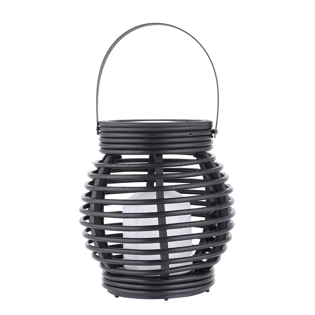 Iuhan Lantern Light Outdoor, Industrial Vintage Metal Cage Hanging Ceiling Pendant Light Holder Lamp Shade Rattan Flame Lamp (Black)